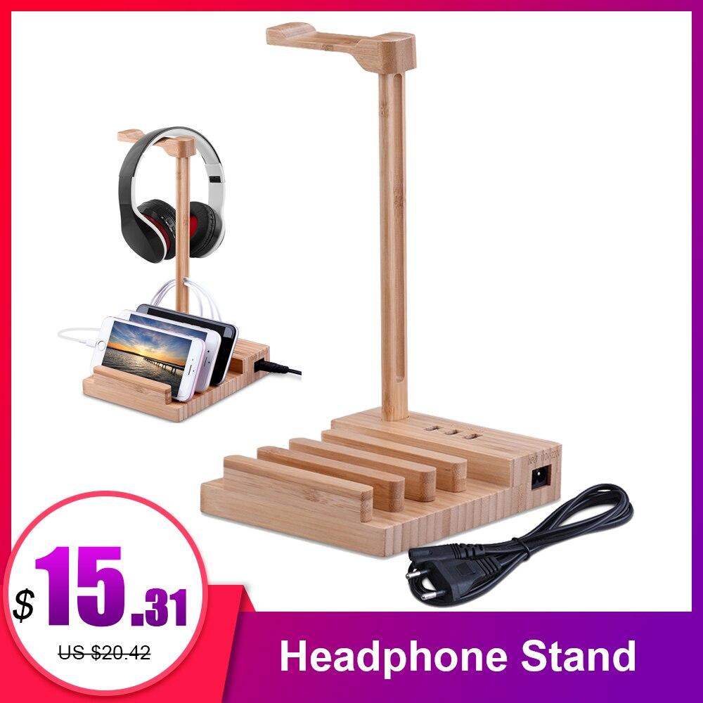 Деревянный держатель для наушников, подставка, Универсальный зарядный наушник USB 5 В/3 А, зарядное устройство с 3 портами USB 3,0 для смартфона и планшета