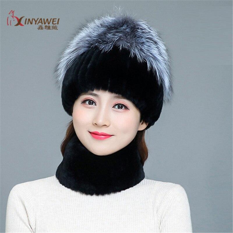 Hot Elasticity Of Authentic Rex Rabbit Fur Fox Fur Hats Hats Real Fur Hat Scarf 100% Real Batural Rex Rabbbit Fur Hat Scarf Suit