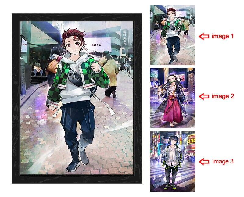 Cazadora de 3D Poster Lenticular Tanjirou/Nezuko/Inosuke Flip de papel pintado Anime pintura regalos de navidad pegatinas de pared