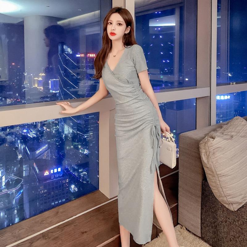 La cintura era delgada y ARRUGADA EN LA sección larga del vestido dividido con cuello en V, vestido de estilo coreano, Vestidos Largos de verano