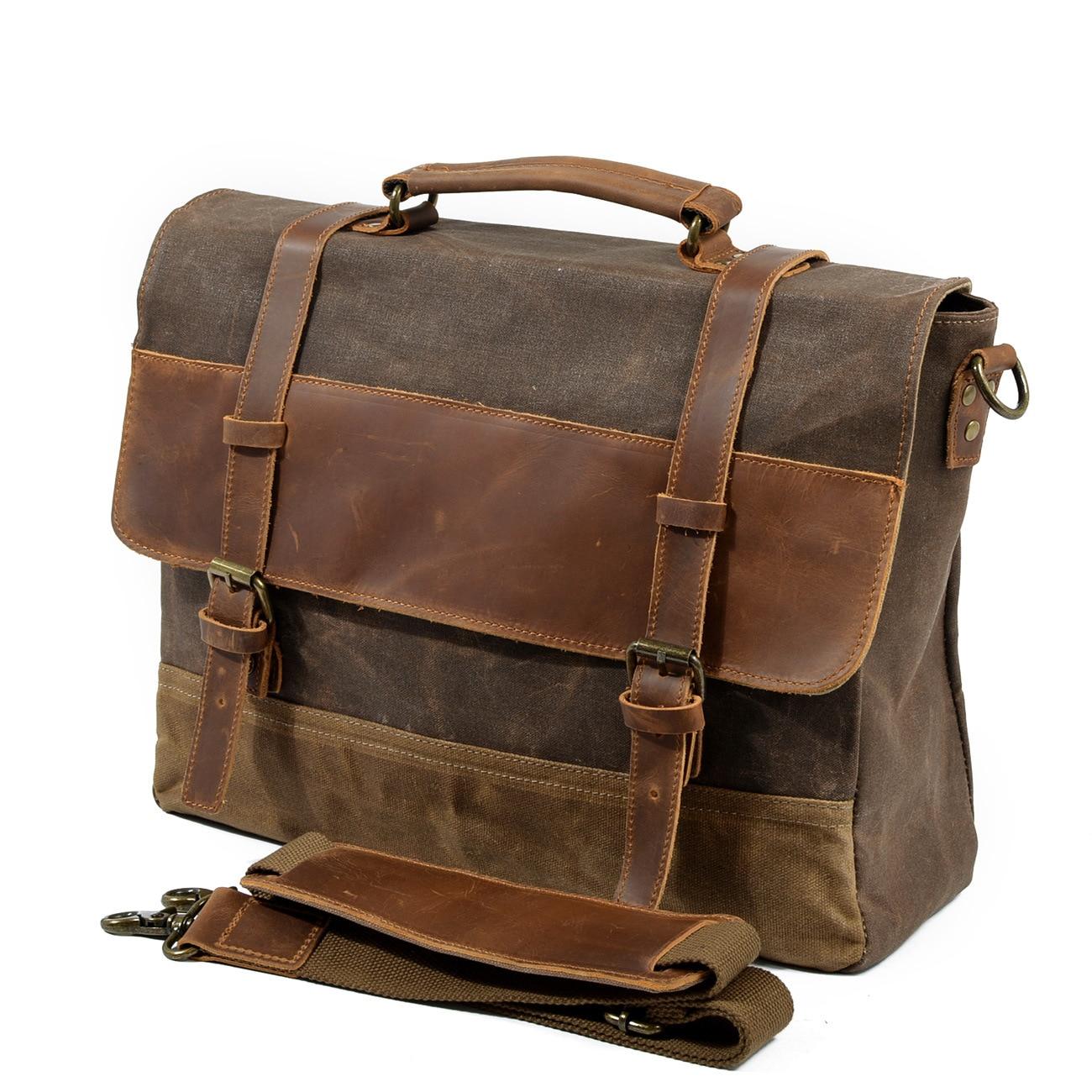 حقيبة جلدية مقاومة للماء للرجال ، حقيبة كتف للرجال مع شمع الزيت ، حقيبة أعمال ريترو ، حقيبة مرقعة محمولة ، مجموعة جديدة 2020