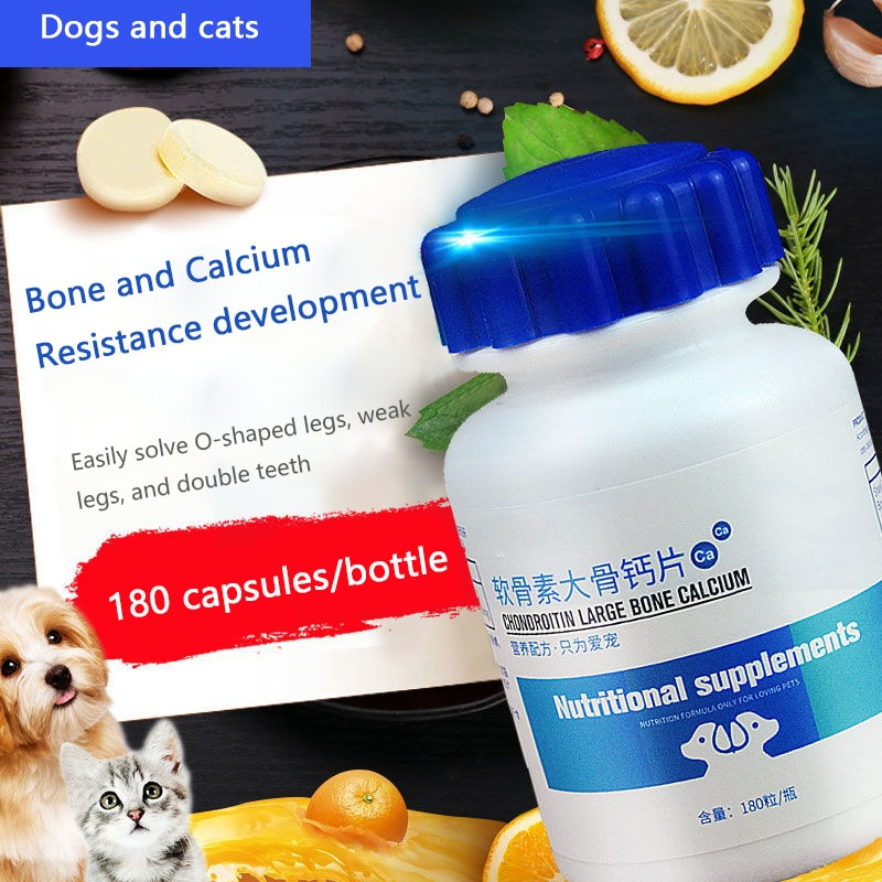 Dog Chondroitin Calcium Tablets 180 Tablets Puppy Bone Bone Calcium for Large Dogs Bone Calcium for Cats Pet Health Supplement dokkan abura das 180 tablets super herb detox enzyme diet support supplement