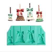 4 holes christmas bell chocolate party cake decorating tools gumpaste christmas party cake decor diy fondant silicone mold