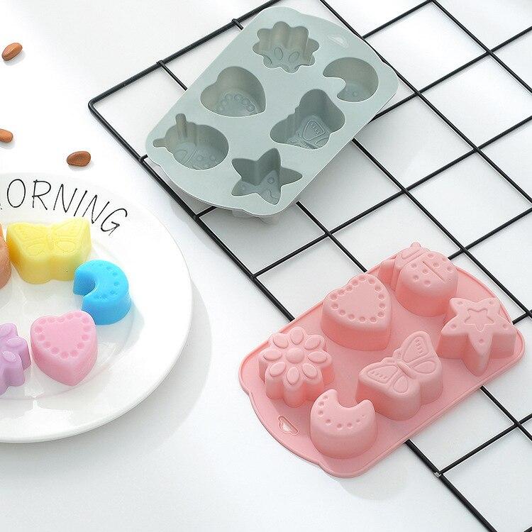 6 cavidad Luna mariposa molde de pastel de silicona DIY chocolate caramelo jabón hecho a mano molde 3D herramientas de Decoración de Pastel