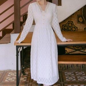 Lace Dresses Women Spring Vintage 2021 Long Sleeve Luxury Midi Dress Party Elegant A-Line Boho Autumn High Waist Embroidery