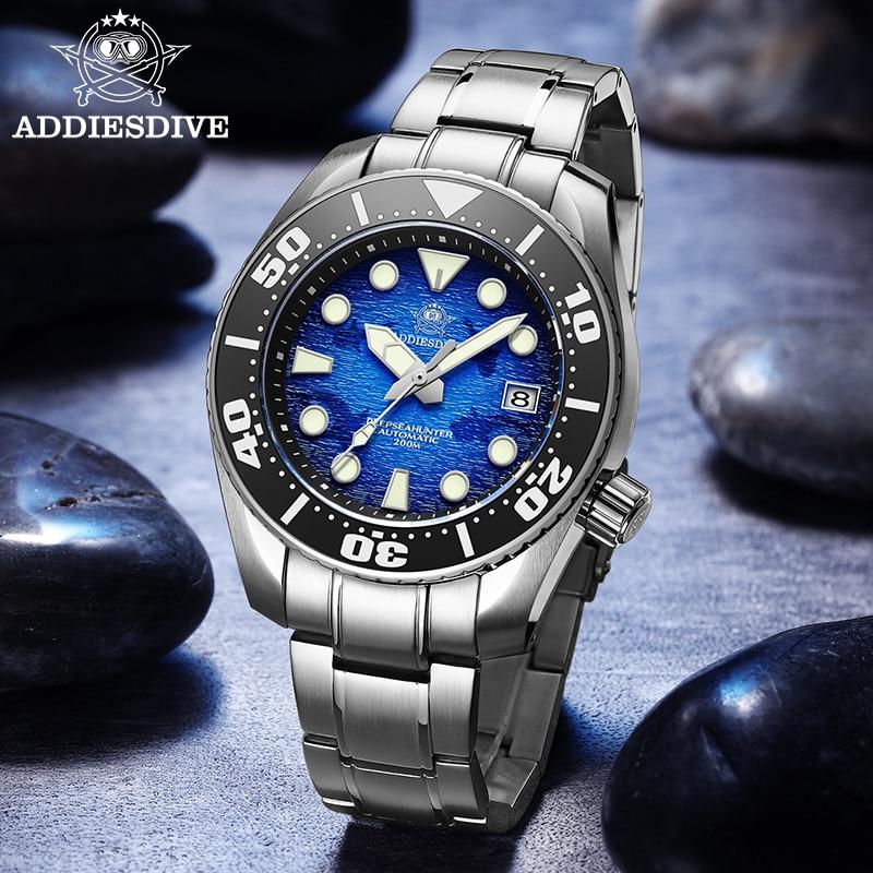Addie الغوص جديد الرجال التلقائي ساعة الفولاذ المقاوم للصدأ حزام 200 متر الغوص سلسلة ساعة NH35 الياقوت الكريستال سوبر مضيئة الساعات