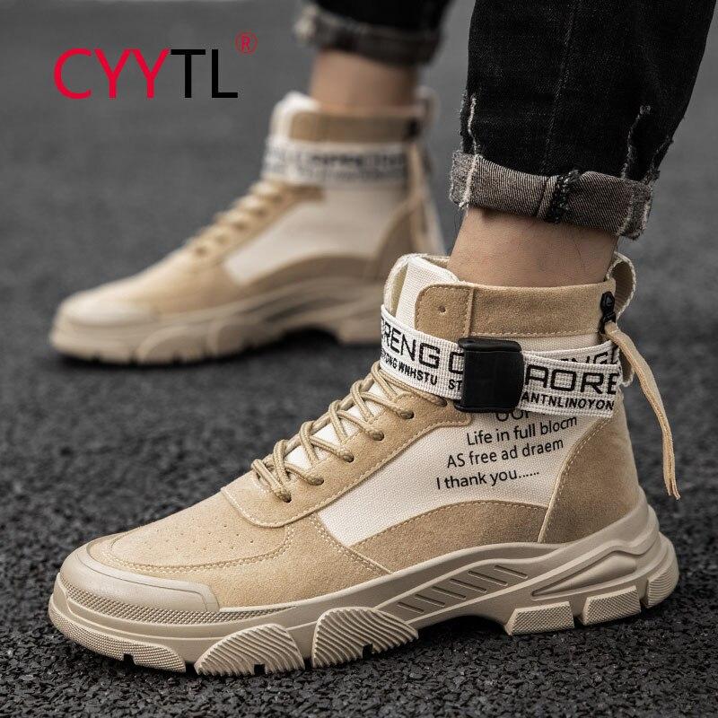 Ботильоны CYYTL мужские повседневные, Уличная обувь для инструментов, Кожаные Рабочие ботильоны для пустыни, прогулок, походов