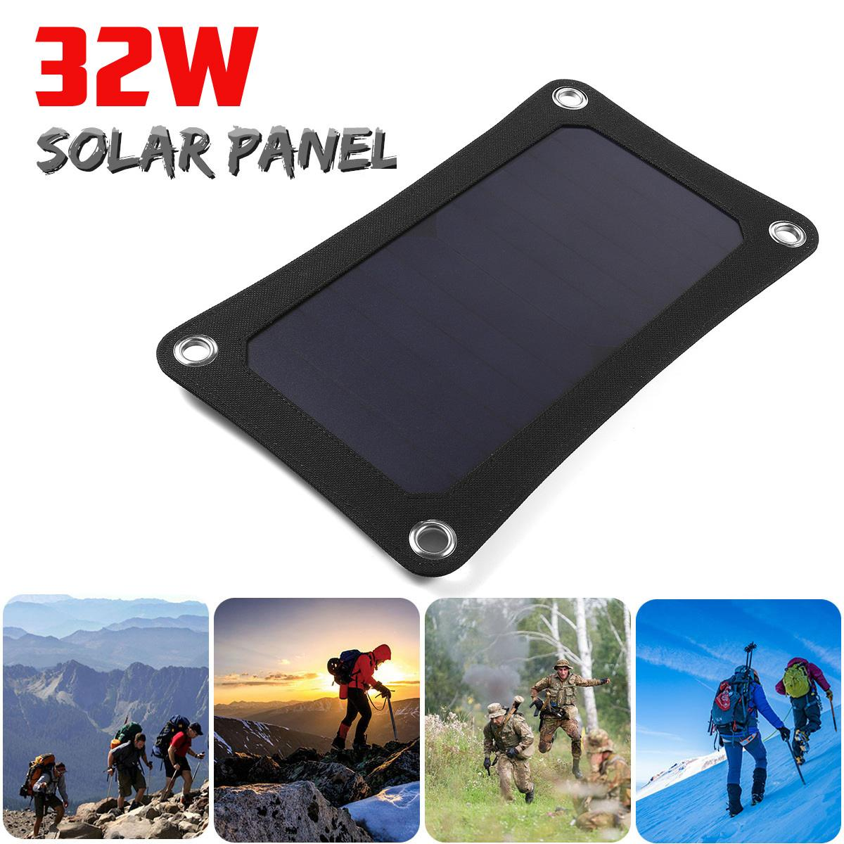 Solar Panel Charger 32W 5V Portable Solar Power Bank Backpack Camping Hiking Solar Panel Kit for phone with USB Port 32CM*18CM