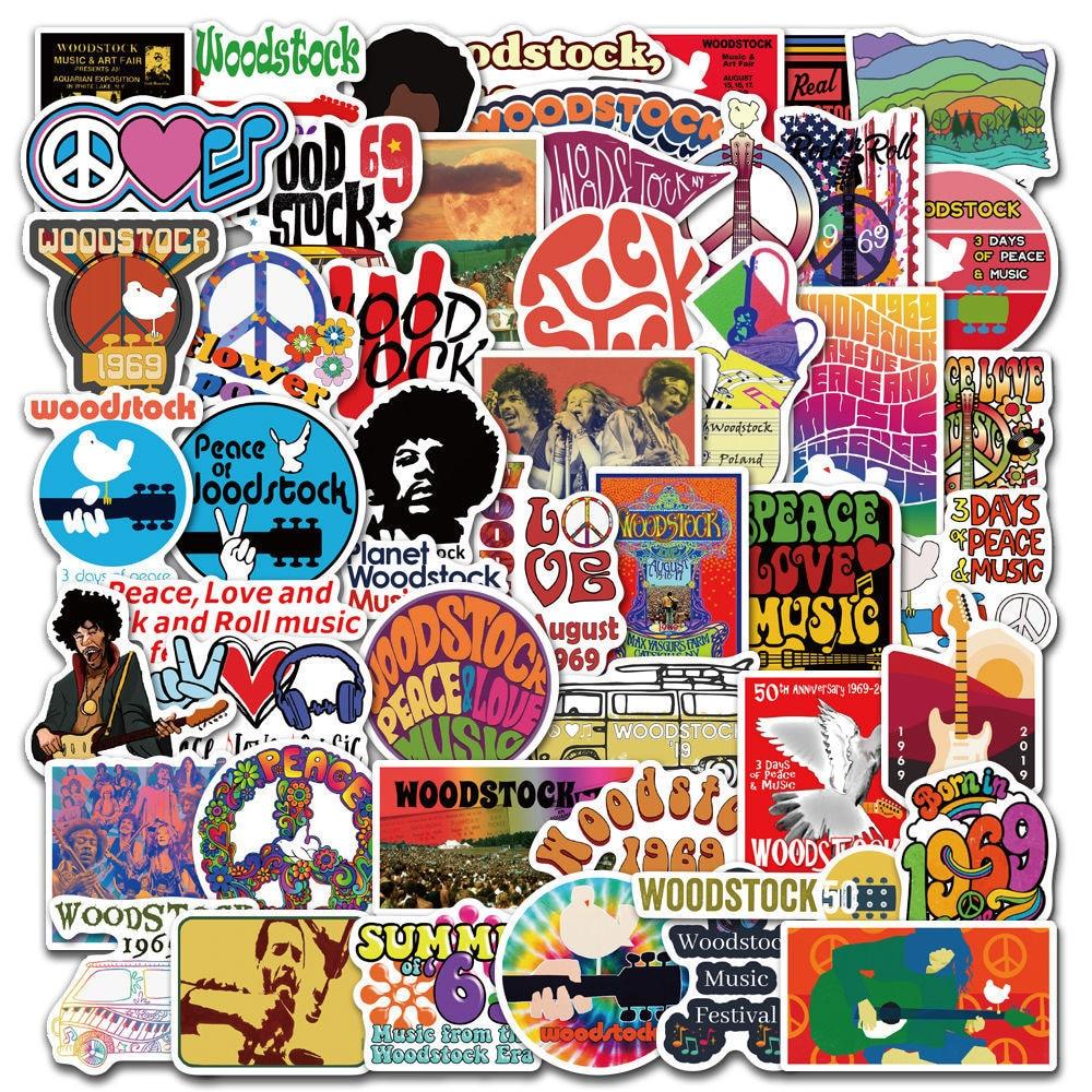 50 pcs Woodstock Rock Festival Vinyl Waterproof Stickers for Kids Teens Adults Luggage Laptop Bike Skateboard Supplies