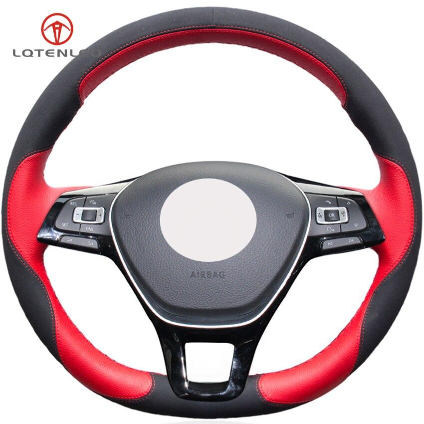 LQTENLEO Schwarz Wildleder Rot Leder Auto Lenkrad Abdeckung für Volkswagen Golf7 Mk7 Neue Polo Jetta Passat B8 Tiguan Sharan touran