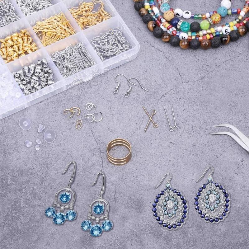 1902Pcs Earring Making Kit Earring Hook Earring Backs Jump Rings Jewelry Making