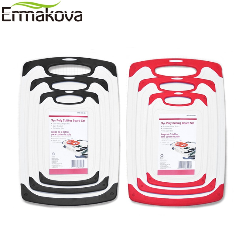 Tabla de cortar de plástico de 8mm de espesor ERMAKOVA, tabla de cortar, bloque de corte de plástico, pies antideslizantes, ranura de jugo de goteo profundo, fácil agarre