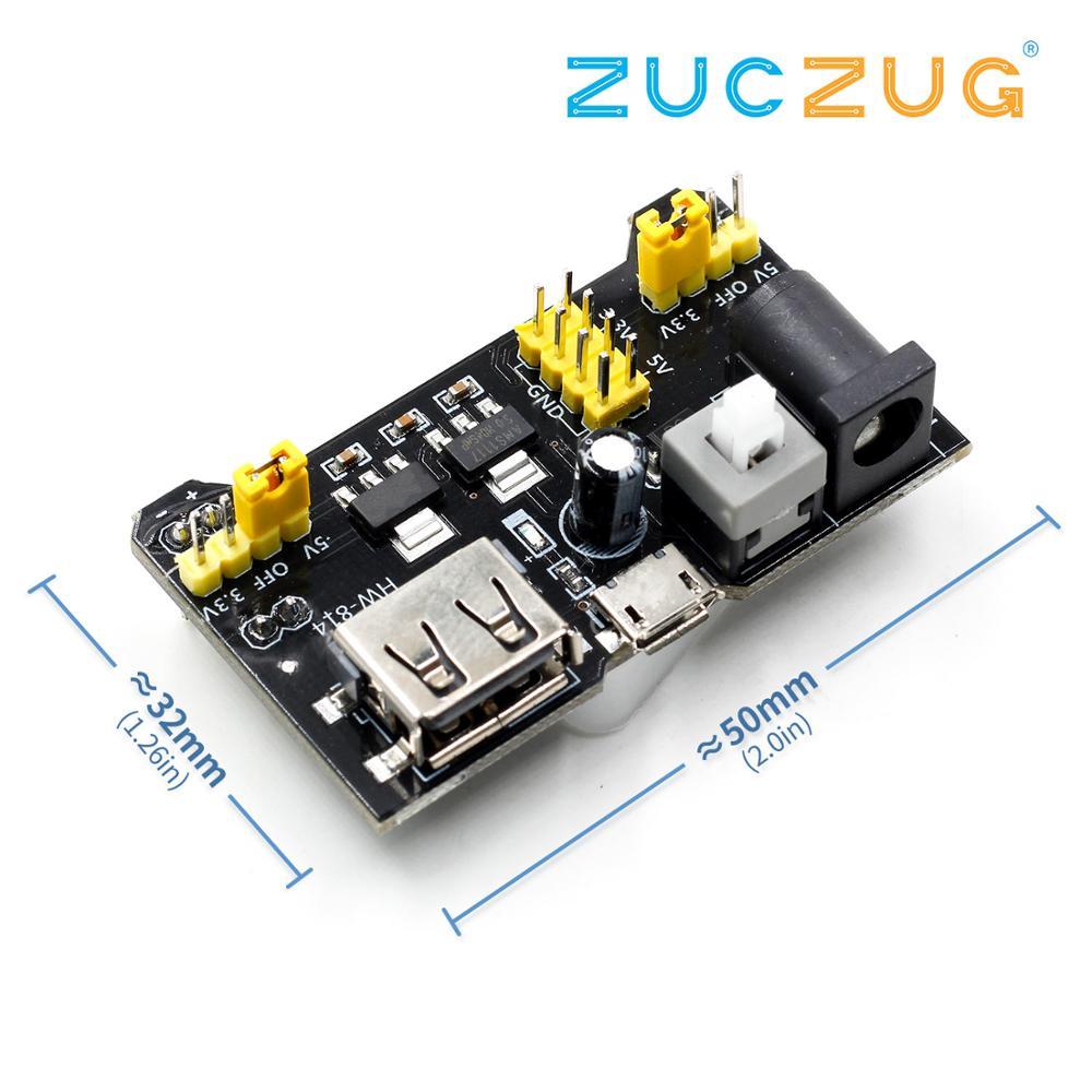 Breadboard Power Module USB/MICRO Compatible 3.3V/5V Dual USB Input MB-102 Power Board