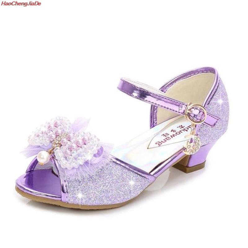 Sandalias para niñas con cuentas de encaje Rosa zapatos de baile latino 5-13 años 6 niños 7 Verano de tacón alto princesa Zapatos Niños Elsa sandalias
