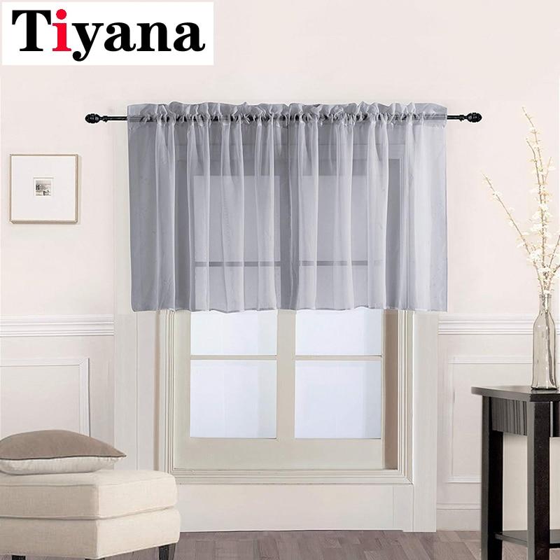 Cortinas gris corta transparente tul corto cortinas para ventanas cenefa para dormitorio baño sala cocina café P184Y