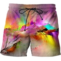 couple suit loose beach pants mens quick drying water tide brand holiday flower shorts five point plus size swimming pantswomen