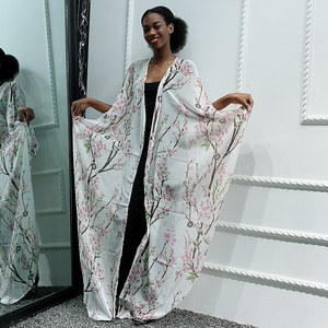 Clearance Arabic Dubai Kimonos Abaya Dress Chiffon Peach Blossom Irregular Open Abaya African Muslim Caftan Marocain Clothing