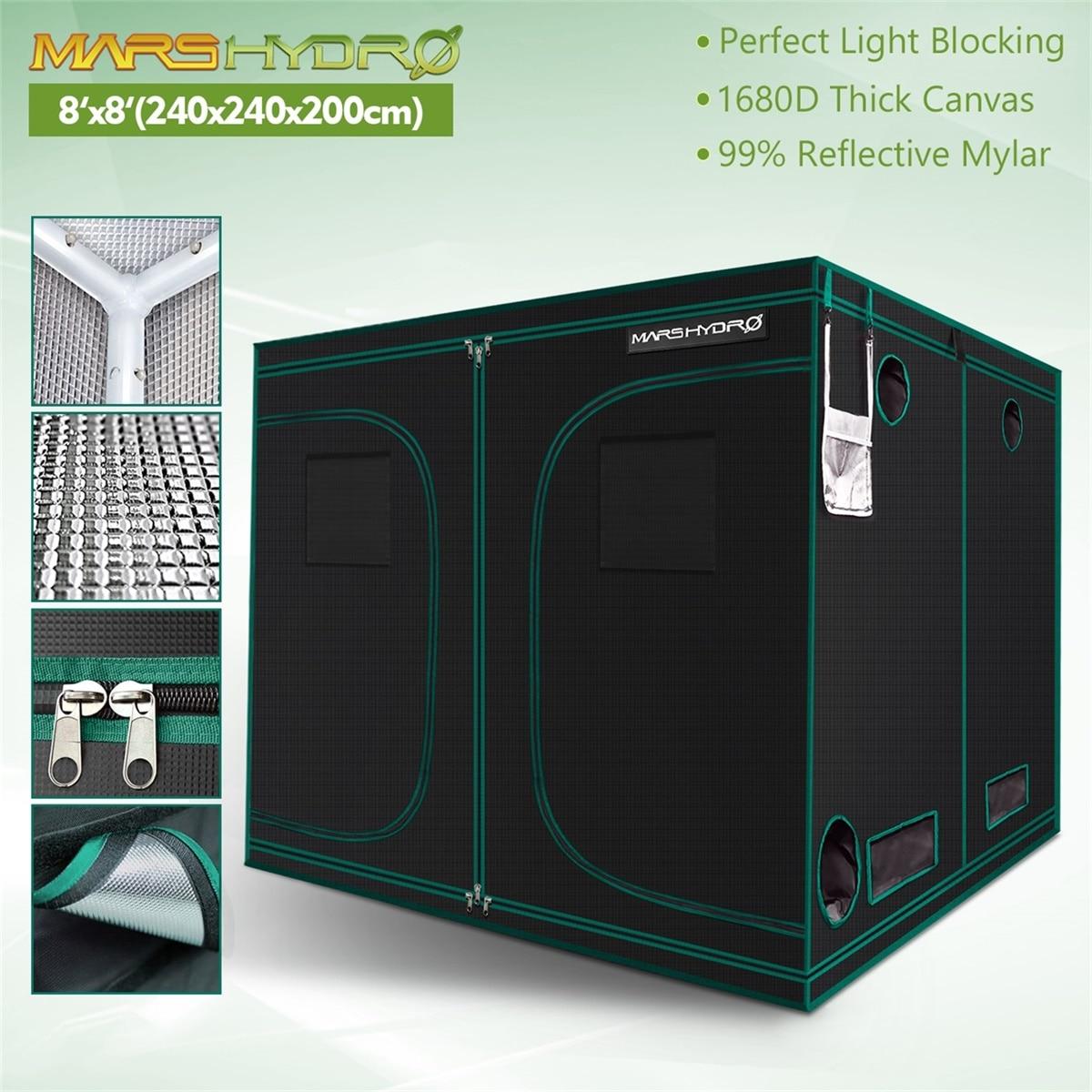 1680D Mars Hydro 240X240X200cm Indoor LED Grow Tent Indoor Growing  System Non-toxic plant room Indoor garden Water-proof hut