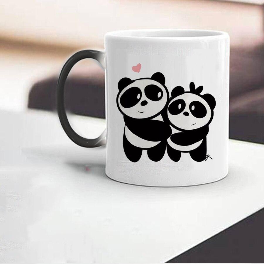 Panda Mather amour enfants tasse 350ml en céramique voyage café tasses couleur changé lait tasse et tasse maman anniversaire cadeau tasse