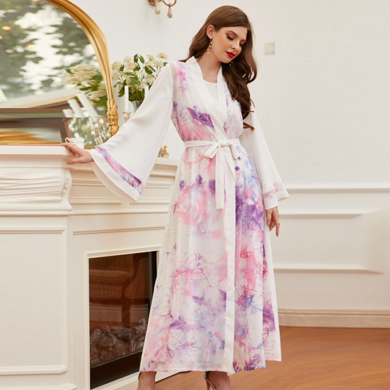 Ramadan Eid Mubarak Moda musulmana Abaya Kimono Dubai Turquía ropa Islam bata...