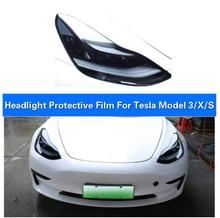 Película protectora de faros de coche Invisible de TPU de 2 uds. De baifire para Tesla Model 3 modelo S, modelo X, adhesivos cicatrización automática de protección