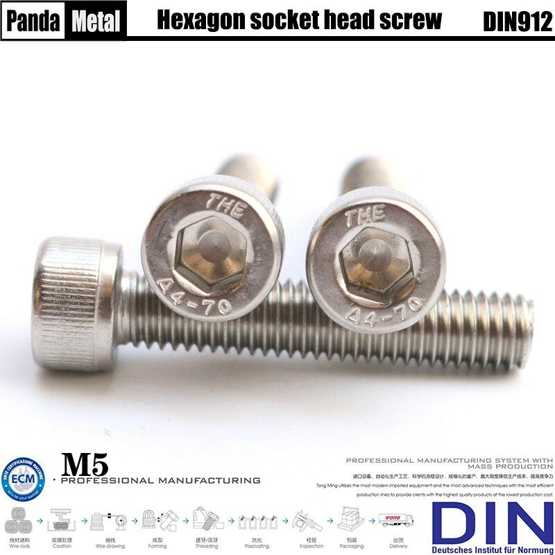 Diámetro M5 rosca métrica 316 Acero inoxidable cabeza cilíndrica tornillo hexagonal DIN912 alemán industrial estándar A4-70