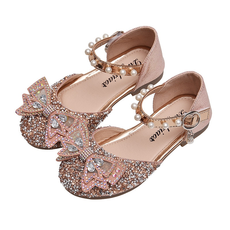 2021 أحذية فائقة الجودة لطيف الفتيات بلينغ بلينغ الماس بووتي لينة أحذية من الجلد الاطفال اللؤلؤ الفيلكرو حذاء مسطح 2-18 سنة