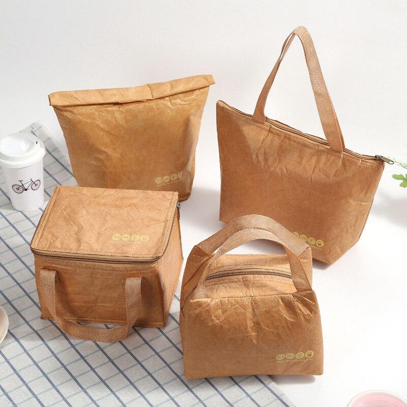 Caliente 4 Uds reutilizable de almuerzo de papel marrón bolsas de almuerzo caja DuPont de papel de película de aluminio pícnic al aire libre bolsas de hielo
