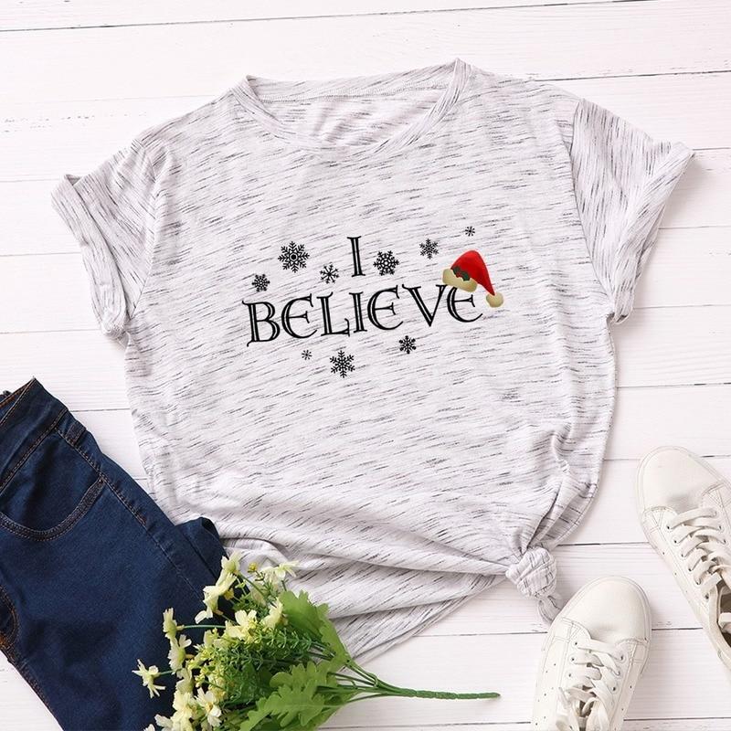 Camiseta femenina de algodón de Navidad de manga corta de talla grande para mujeres camiseta I Believe impresión señoras tapas Harajuku camiseta Kpop camiseta