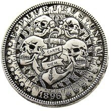HB (24) US 1896 p-CC-S-O Dólar Morgan cráneo zombi esqueleto plateado copia monedas
