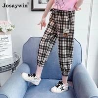 new children pants for girls teenagers students kids cargo pants elastic waist popular girls trousers plaid streetwear clothing