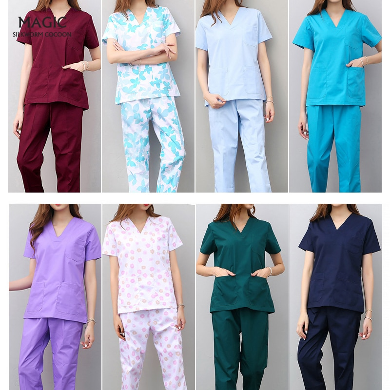 Workwear Clothes Health Workers Frosted Tops Pants Beauty Salon Scrub Uniforms Scrubs Set Short Slee