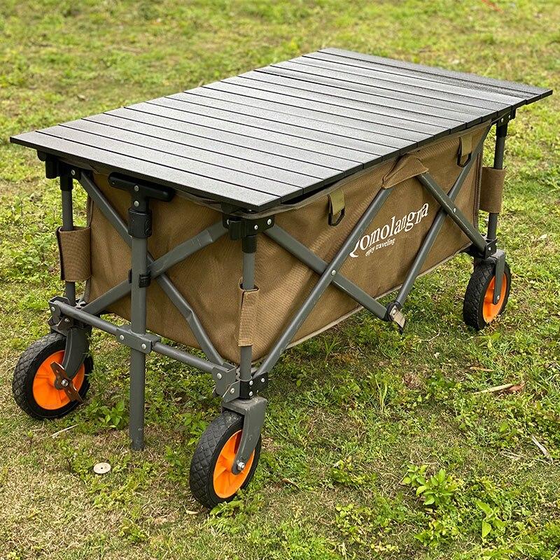 Acampamento ao ar livre mesa portátil para carrinho vagão liga de alumínio piquenique mesa superior leve