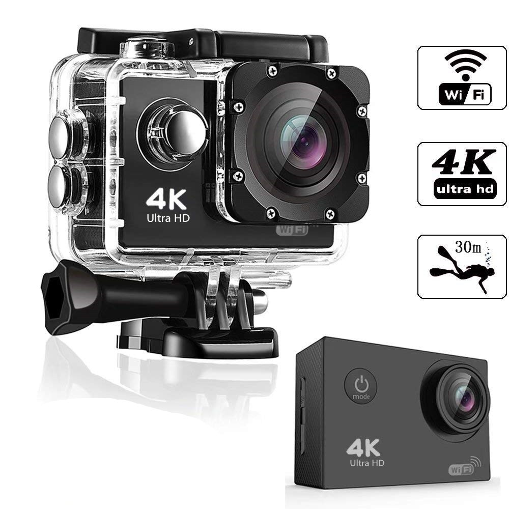 4K Sports & Action And Underwater Photography Video Cameras with 140+Degree Wide Angle
