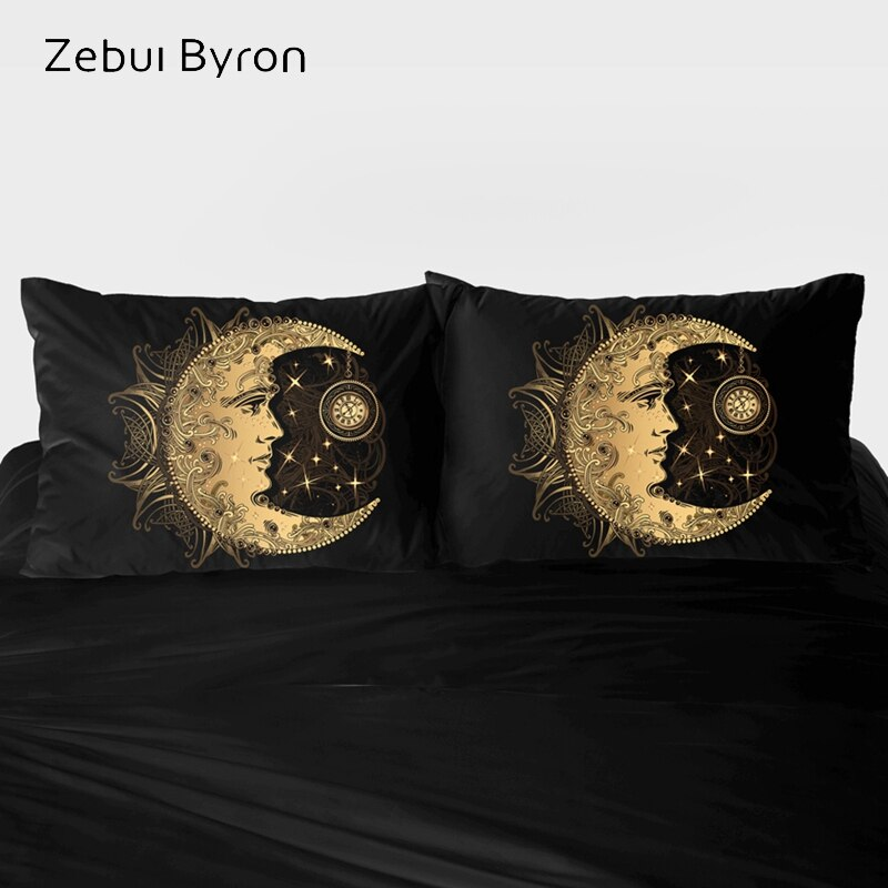 2 PCS Pillowcase 45x45/70x70/80x80,3D Pillow Case Custom,Decorative Pillow Cover Bedding Boho Golden moon,drop ship