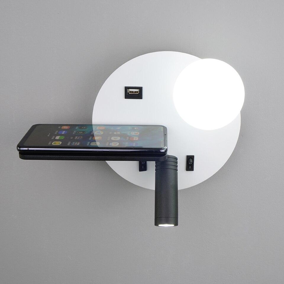 Led داخلي الجدار مصباح المنزل الداخلية القراءة ضوء فندق هيبوارد مصباح ليد الجدار USB الإضاءة الحديثة الجدار الشمعدان التبديل الإنارة