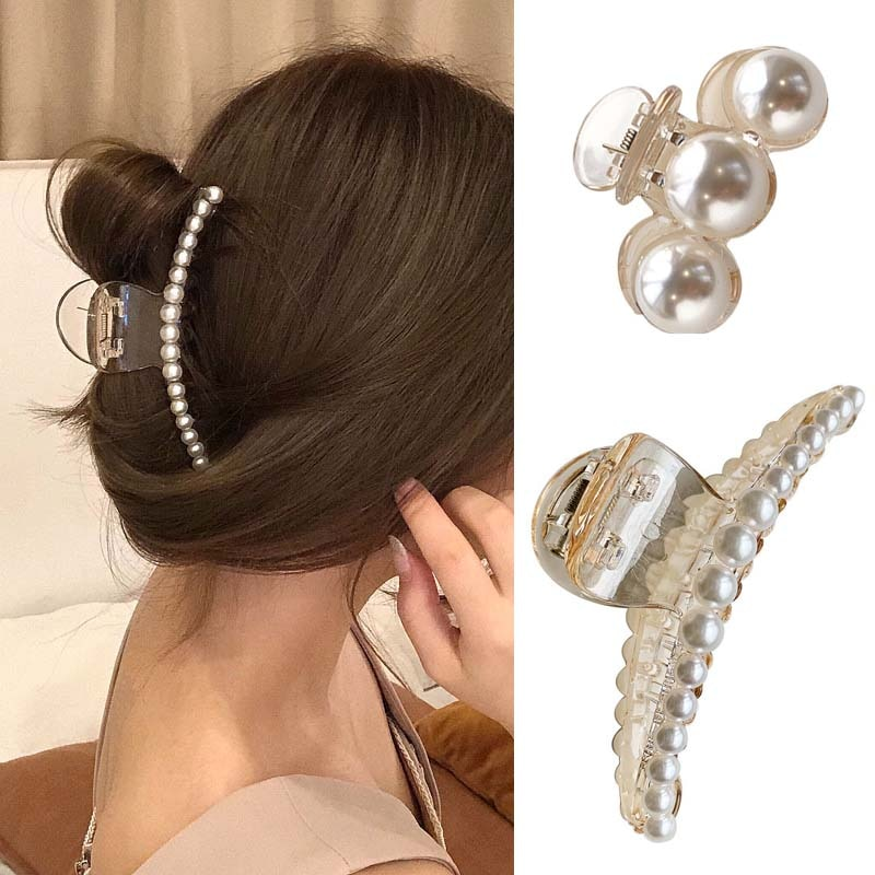 Pearl Hair Claw For Women Retro Elegant Korean Accessories Temperament Fashion Heart Shape Crystal Clips Crab Hairgrip