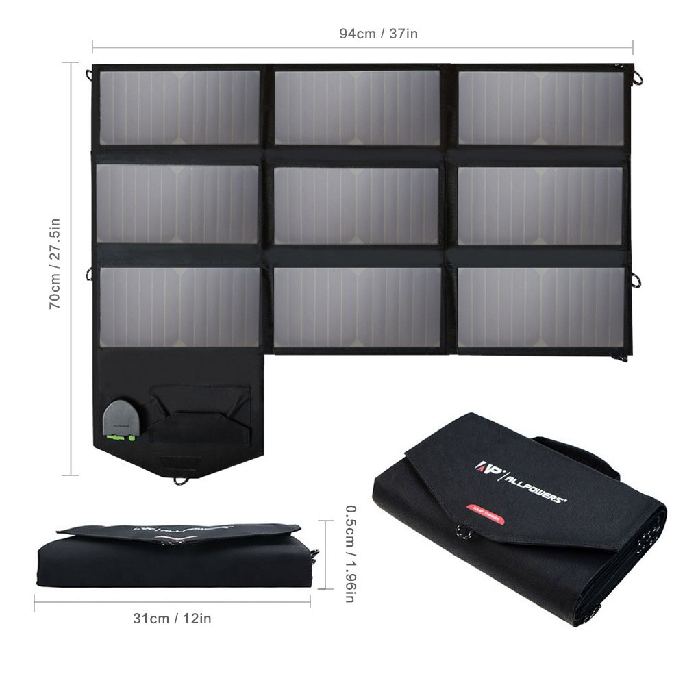 60W Solar Panel Portable Waterproof Charge bag Outdoor 18V DC&5V USB Output Solar Charger for Phone Huawei XiaomiNotebook Tablet