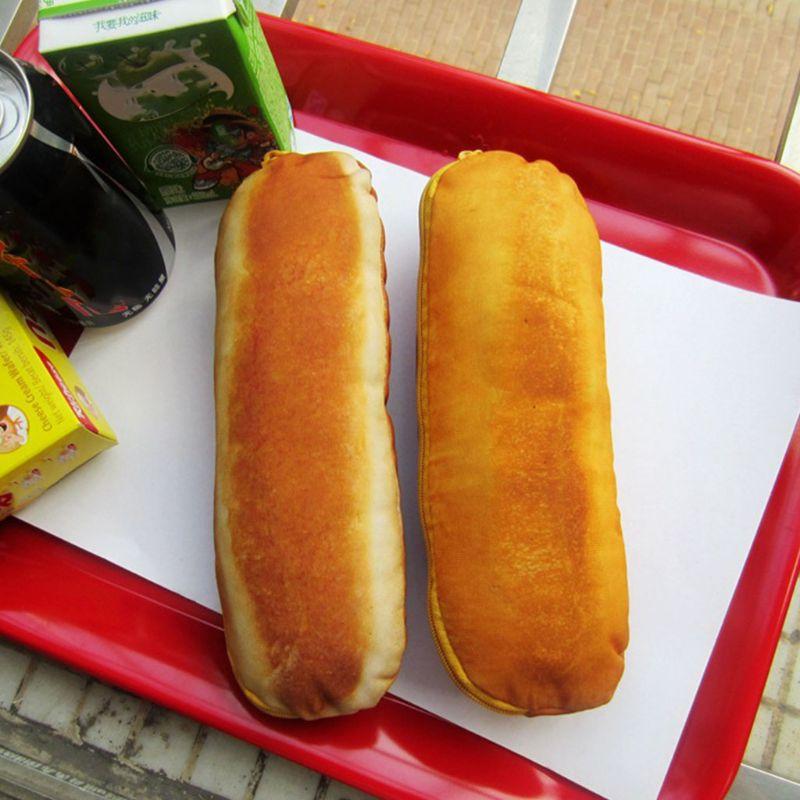 Portátil pan francés lápiz estuche de bolígrafo bolsa para cosméticos y maquillaje bolsa con cremallera X5XA
