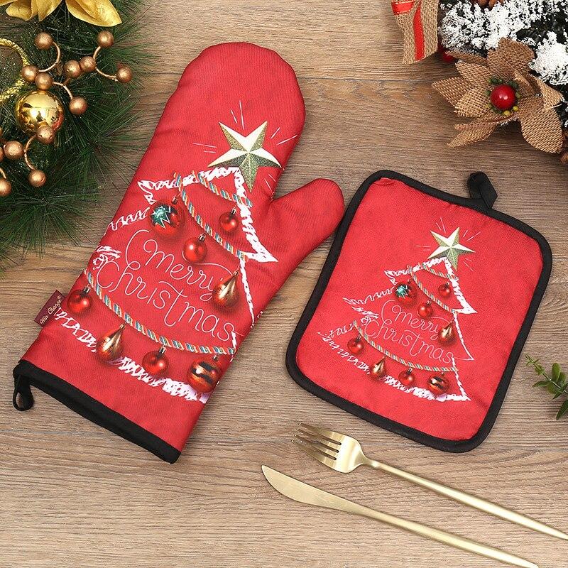 Guantes navideños resistentes al calor para horno microondas aislante para horno guantes navideños de dos piezas para estufa o cocina