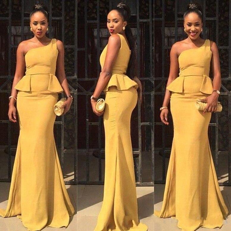 Estilo africano 2020 Daffodil satén un hombro vestidos de dama de honor sirena Sexy Peplum vestidos de boda formales largos por encargo