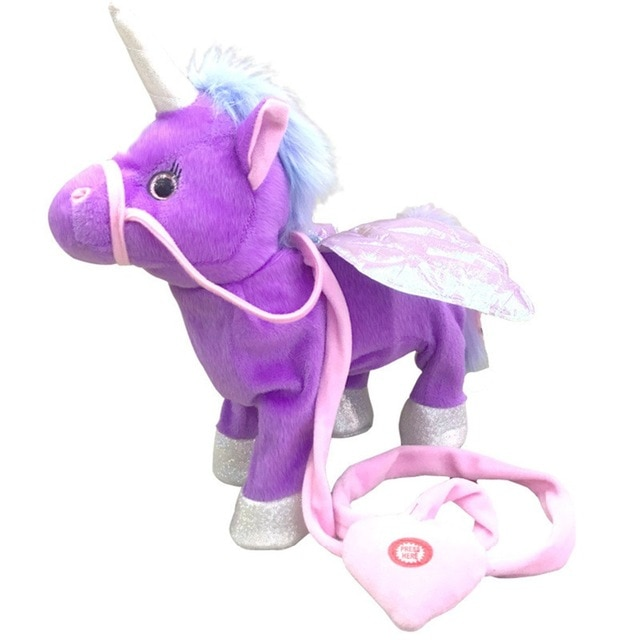 2020 Hot Sale 25/35cm Funny Unicorn Walking& Talking Stuffed Animal Horse Toy Sound Record Plush Unicorn Creative Gift for kids