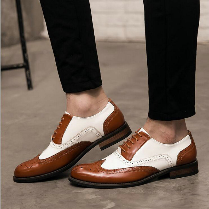 New Patchwork Oxfords Italian Men Brogue Wedding Lace Up Leather Formal Party shoes Men Luxury Dress Shoes BA-55 shoes mens dress shoes genuine leather blue purple oxfords men wedding shoes party whole cut formal shoes for men