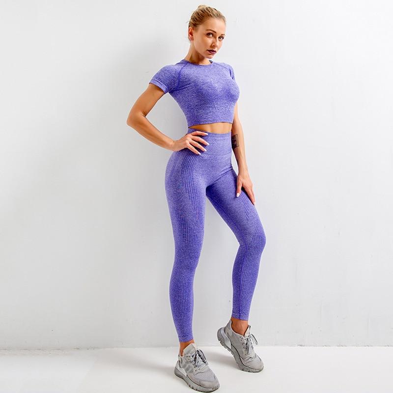 Seamless Women Yoga Set Crop Tops Short Sleeve Shirt Fitness pants Workout Clothes For Women Gym Clothes Yoga Sport Running Set