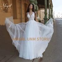 mngrl wedding dress simple v neck sleeveless white lace 3d flower wedding gown backless plus size bridal dresses