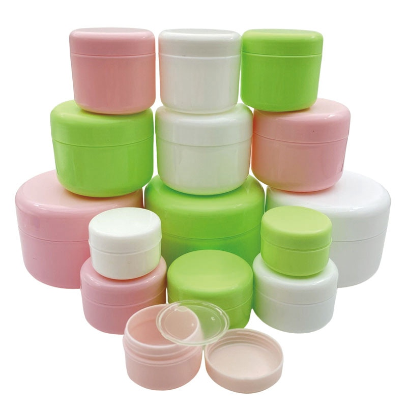 refillable bottles travel face cream lotion cosmetic container plastic empty makeup container jar pot 30Pcs 10g/20g/30g/50g/100g Empty Makeup Jar Pot Refillable Sample Bottles Travel Face Cream Lotion Cosmetic Container White