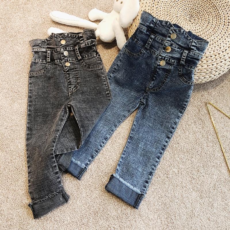 Джинсы для девочек; Сезон весна-лето; Брюки для малышей; Детские джинсовые штаны; Детская уличная одежда с завышенной талией и застежкой; Для детей от 3 до 9 лет
