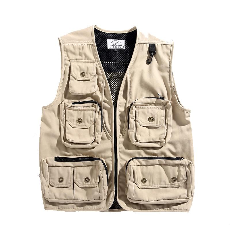 Techwear التكتيكية الهيب هوب متعدد جيوب Vintage تانك توب الرجال Photographer سترة جاكيتات معاطف ملابس رياضية الملابس العسكرية