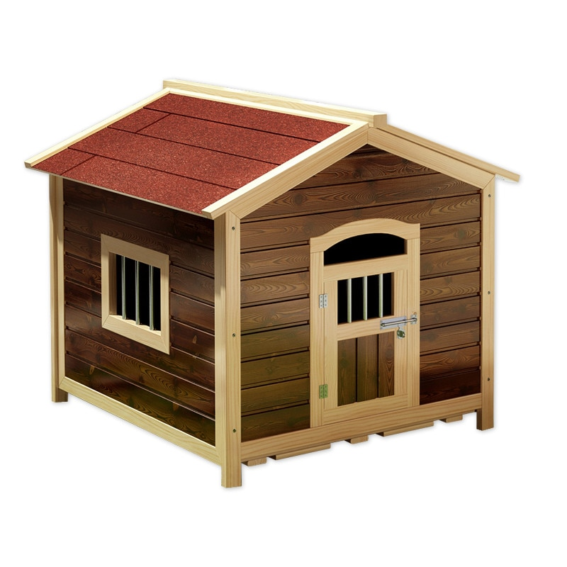 Carbonized Kennel Waterproof and Sun Protection Anti-Corrosion Small House Outdoor Kennel Large Dog Pet Kennel Solid Wood Kennel
