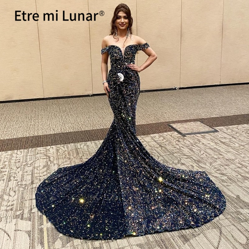 2021 Dubai Luxury Evening Dresses 2020 A-Line Sweetheart  With Train Sequins Sparkle Sexy Evening Gowns Formal Dress LE4021
